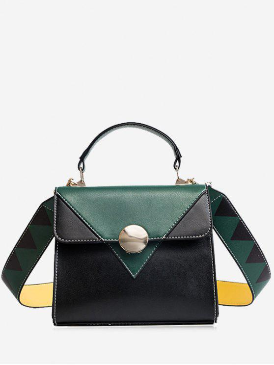 buy Color Blocking Geometric Faux Leather Crossbody Bag - GREEN