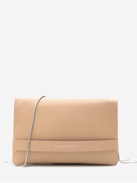 womens Chain PU Leather Crossbody Bag - KHAKI
