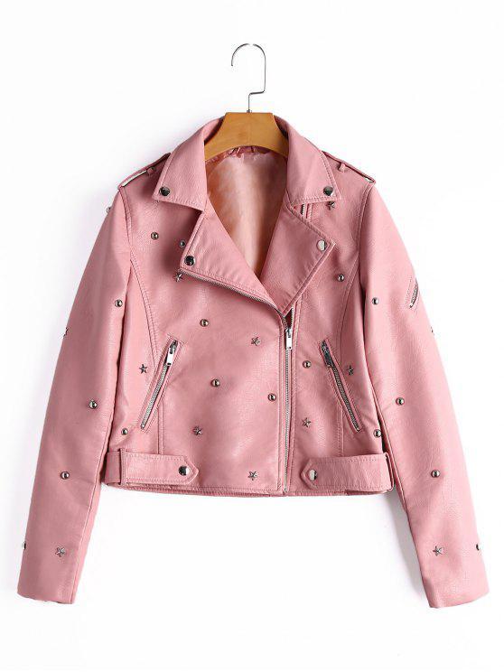 women's Asymmetric Zipper Rivet Embellished Faux Leather Jacket - PINK S