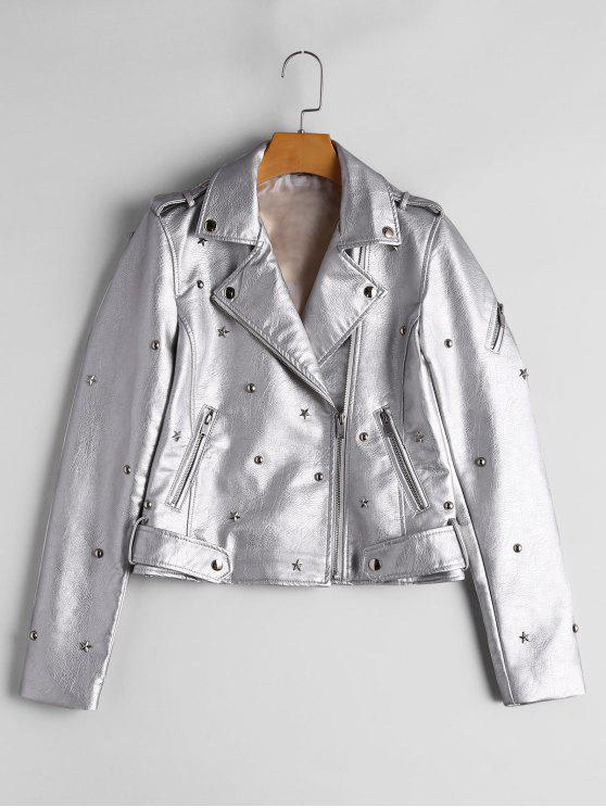 outfits Asymmetric Zipper Rivet Embellished Faux Leather Jacket - SILVER S