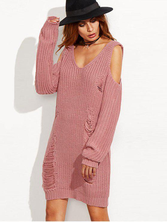 new Ripped Cold Shoulder Mini Sweater Dress - LIGHT PINK L