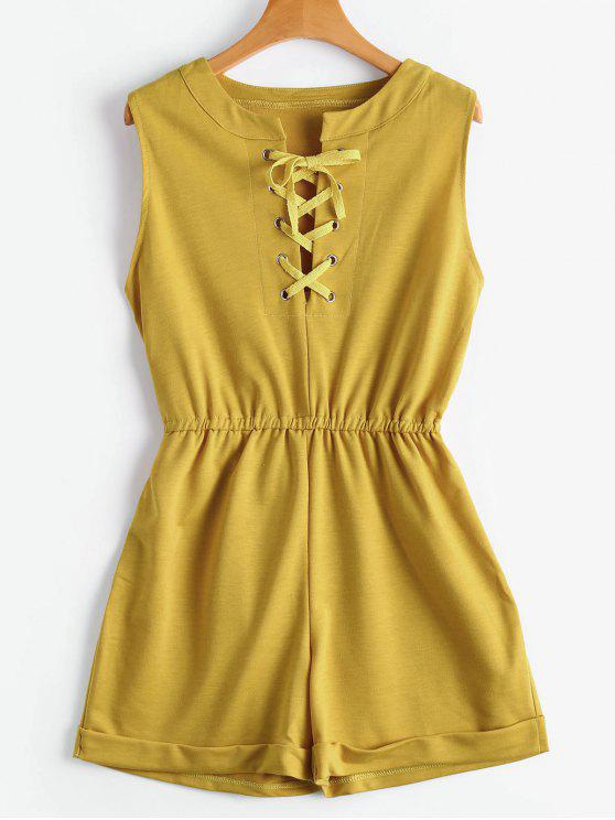 Lace Up sin mangas Romper - Jengibre XL
