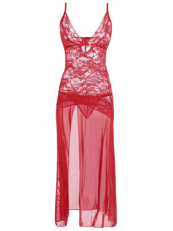 عالية الشق الدانتيل طويل شير زلة اللباس - أحمر XL