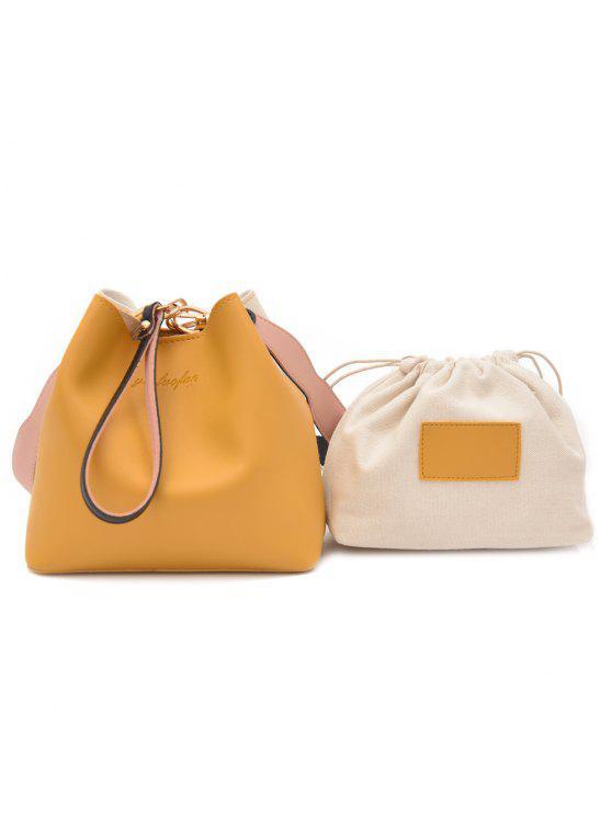 طقم حقيبة يد من قطعتين من الجلد المزيف - الأصفر