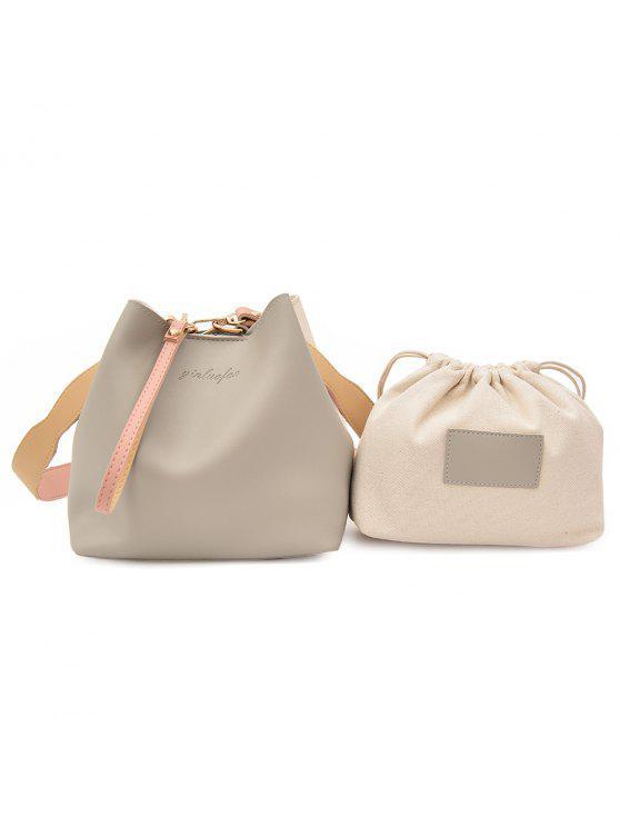 طقم حقيبة يد من قطعتين من الجلد المزيف - اللون الرمادي