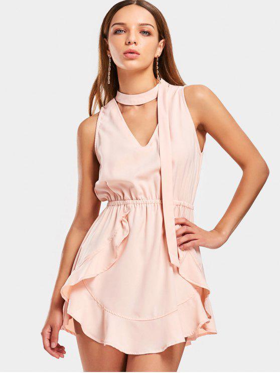 Vestido corto de Choker con volantes - Rosa beige  S