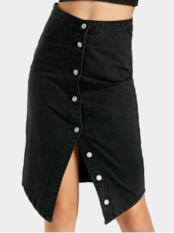 Alto, cintura, botón, Arriba, falda - Negro L
