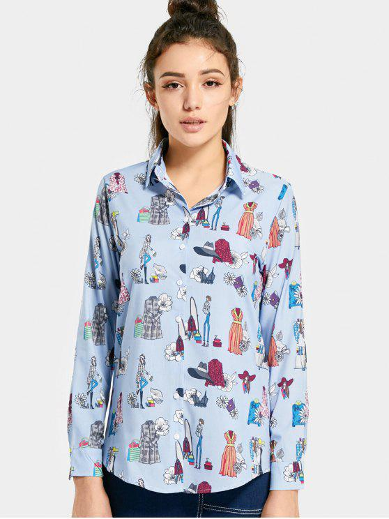 shops Button Up Printed Longline Shirt - LIGHT BLUE M