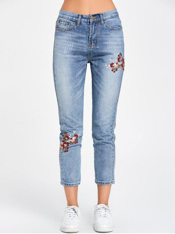 lady Floral Embroidered Nine Minutes of Jeans - BLUE L