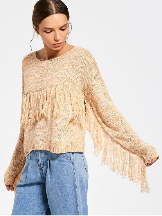 Sweater Feminino Franjado e Gola Canoa - Amarelo Um Tamanho