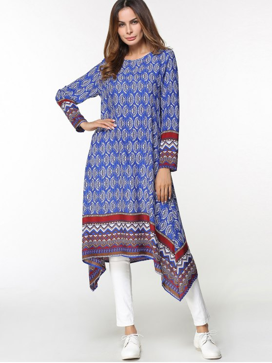فستان عربي ميدي غير متماثل طباعة قبلية - أزرق L