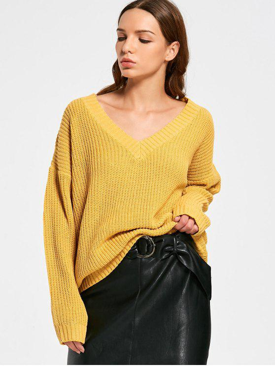 unique V Neck Oversize Chunky Sweater - YELLOW ONE SIZE