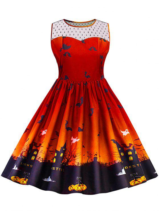 Robe Grande Taille Halloween à Empiècement en Dentelle - Orange 5XL