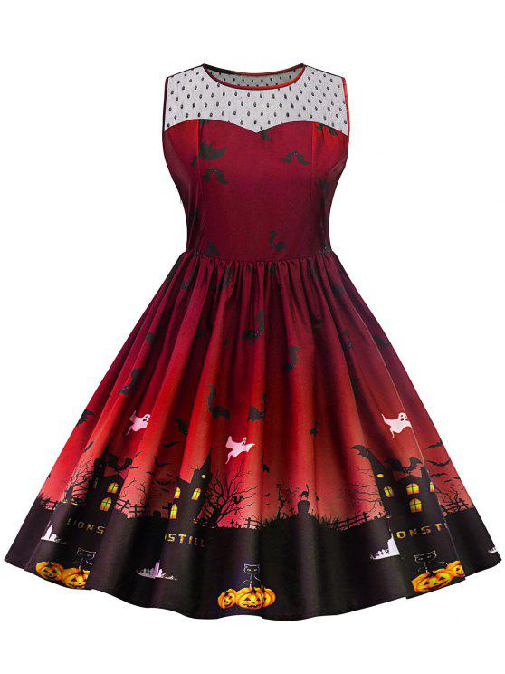 Halloween Lace Panel Vestido de talla grande - Vino Rojo XL