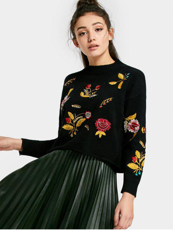 online Floral Patched Drop Shoulder Sweater - BLACK ONE SIZE