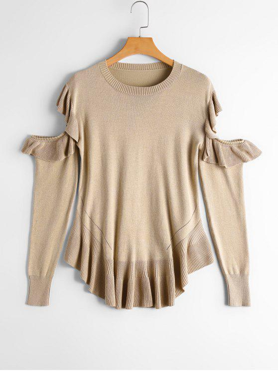 women Flounces Sheer Cut Out Sweater - APRICOT ONE SIZE