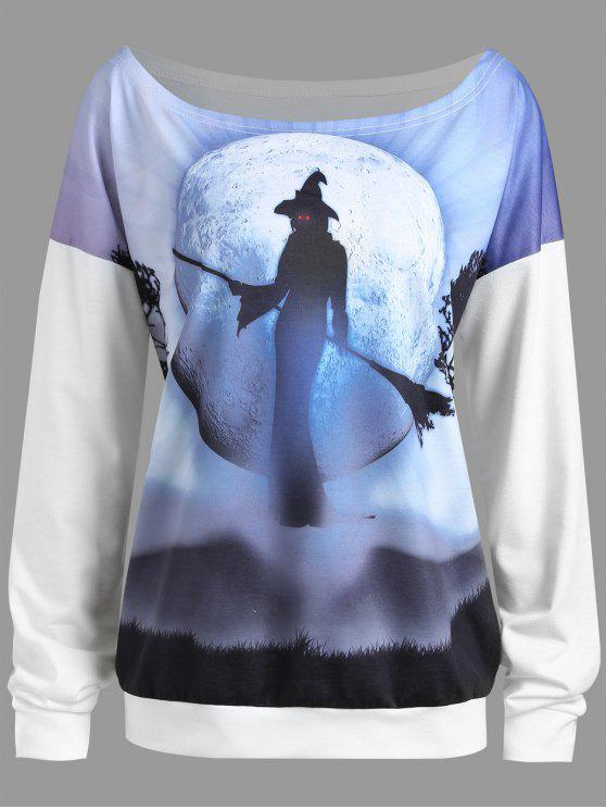Más tamaño de Halloween bruja gota de la luna hombro Sudadera - Blanco 4XL