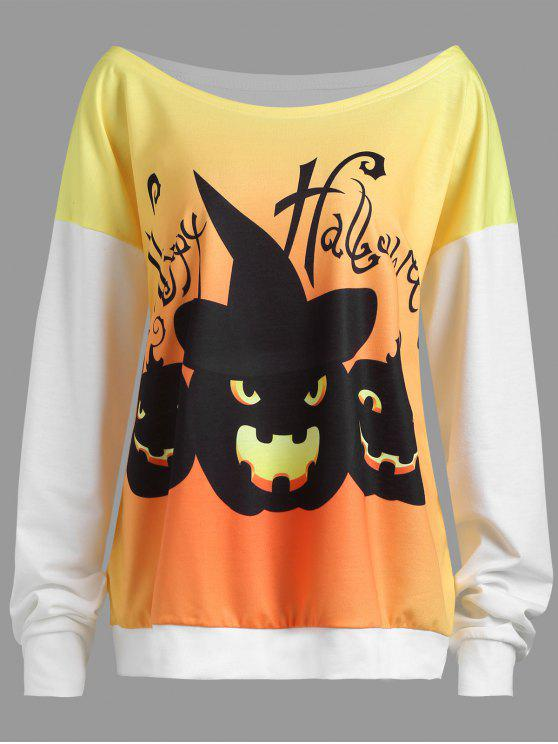 Plus Size Happy Halloween Pumpkin Drop Shoulder Sweatshirt - Branco 2XL