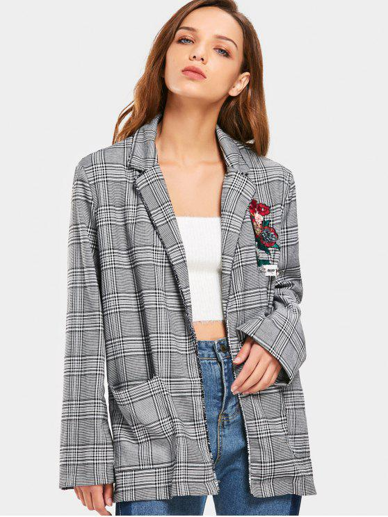 outfits Checked Floral Applique Embroidered Blazer - CHECKED L