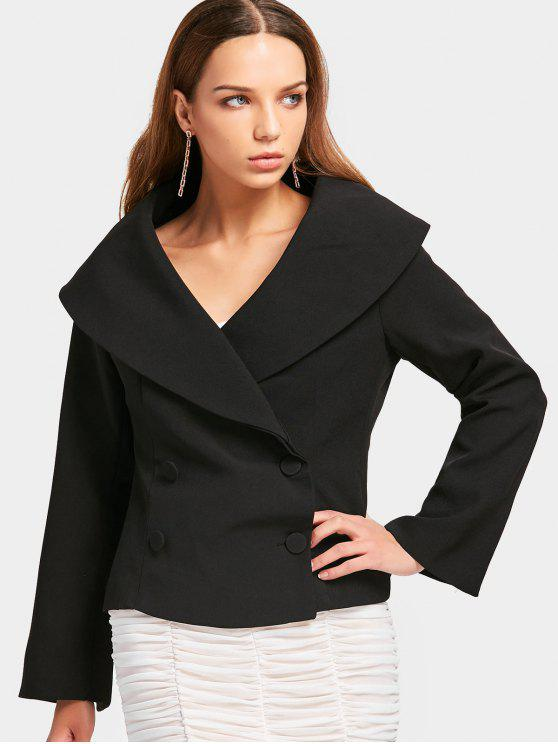 Skirted Fitting Zweireihiger Blazer - Schwarz L