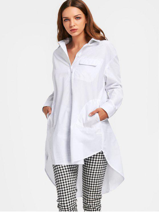 trendy High Low Half Buttoned Shirt with Pockets - WHITE S