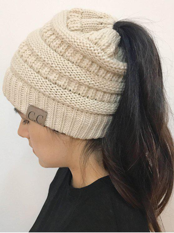 women Mixcolor Open Top Knitted Hat - OFF-WHITE