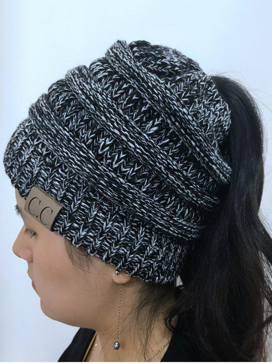 ladies Mixcolor Open Top Knitted Hat - BLACK WHITE