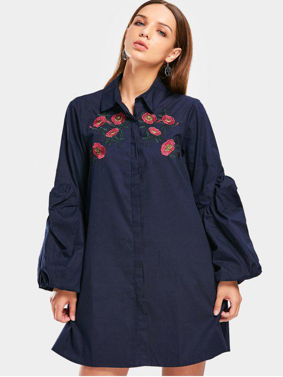 women's Puff Sleeve Floral Embroidered Shirt Dress - PURPLISH BLUE M