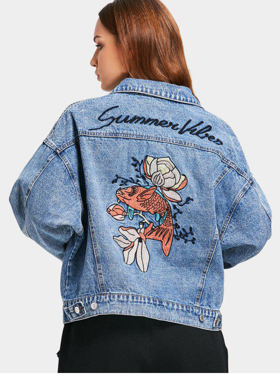 26ddfb3f98 Button Up Fish Embroidered Denim Jacket DENIM BLUE