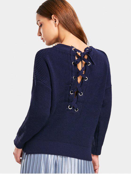 buy Drop Shoulder Lace Up Back Sweater - PURPLISH BLUE ONE SIZE