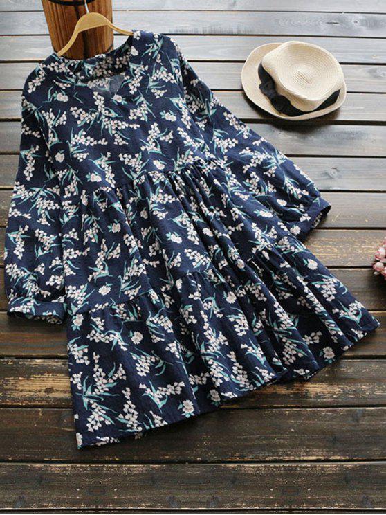 Vestido de manga larga floral con cuello en V - Floral Única Talla