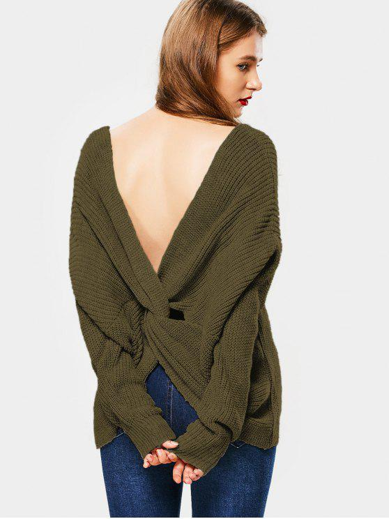 2018 plunging neck twist back sweater in army green one size zaful