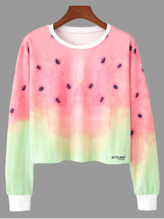 online Ombre Color Watermelon Print Cropped Sweatshirt - COLORMIX S