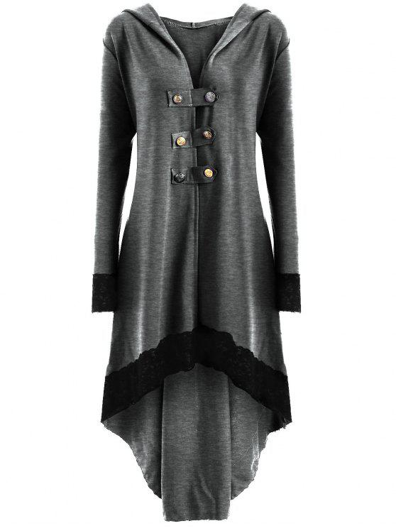 Lace-up Plus Size Hooded High Low Coat - Cinza Claro 2XL