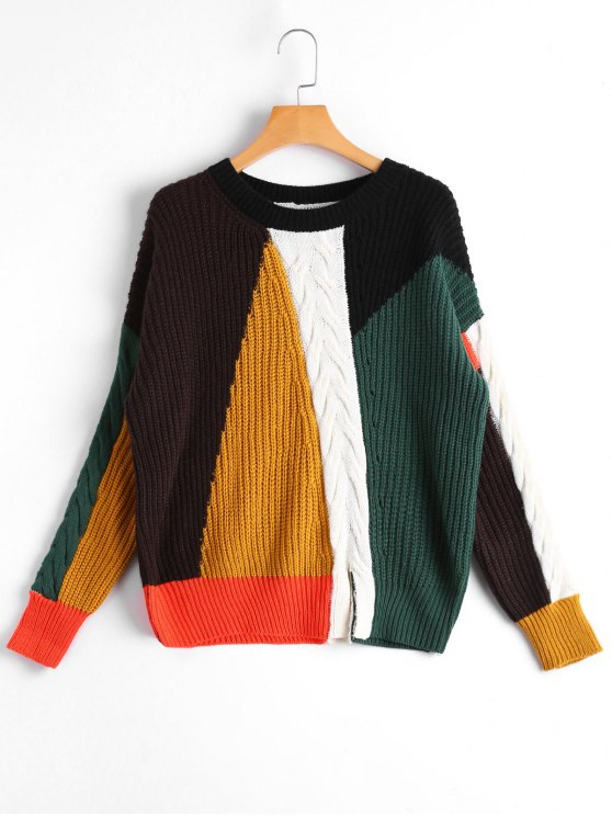 ladies Slit Color Block Cable Knit Sweater - MULTICOLOR ONE SIZE
