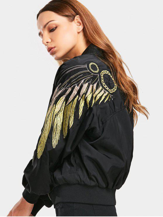 767672619 Zip Up Shiny Embroidered Bomber Jacket