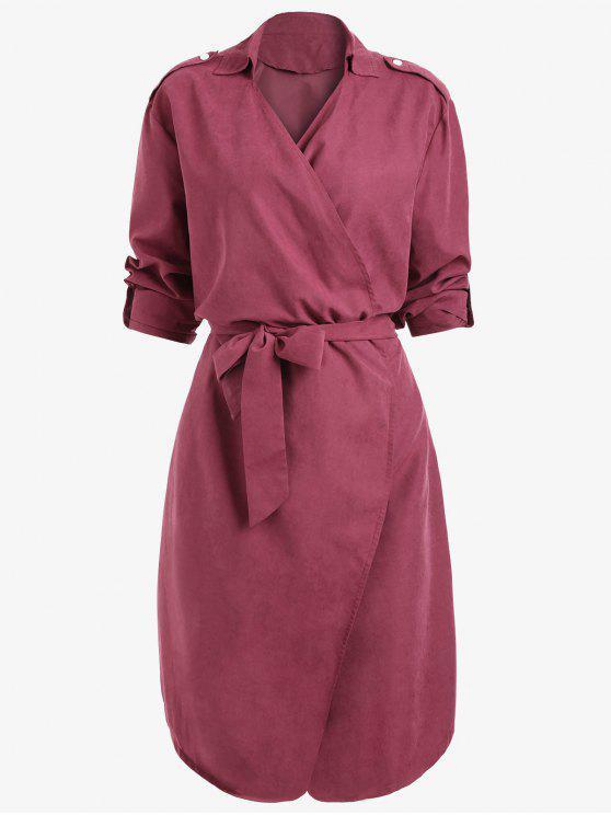 sale Drop Shoulder Belted Plain Coat - WINE RED M