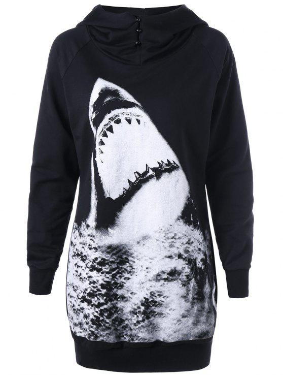código promocional 21c3e 3a8b1 Sudadera con capucha de la impresión del tiburón de la manga del raglán
