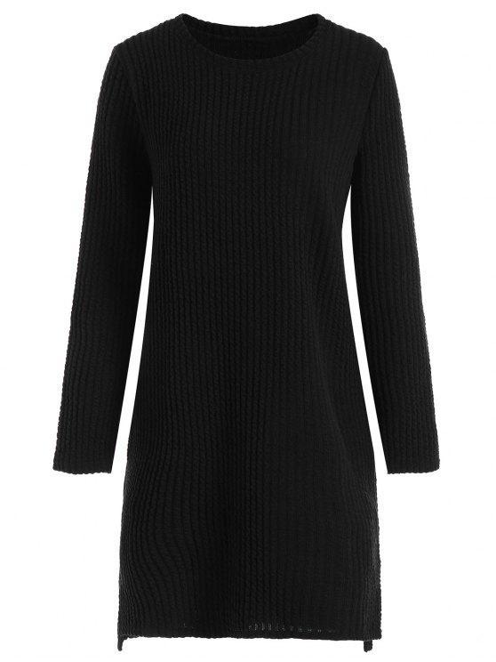 فستان سويت طويلة الأكمام الحجم الكبير - أسود 3XL