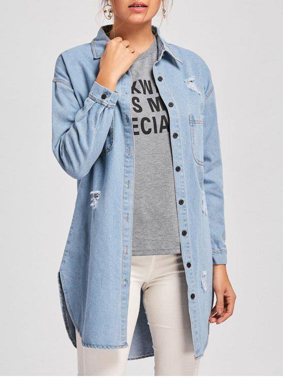 619bd340f7 36% OFF  2019 Ripped Mini Denim Shirt Dress In DENIM BLUE