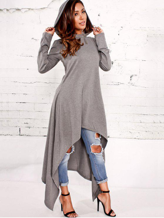 15472795c23 36% OFF  2019 Asymmetrical Pullover Maxi Hoodie In GRAY