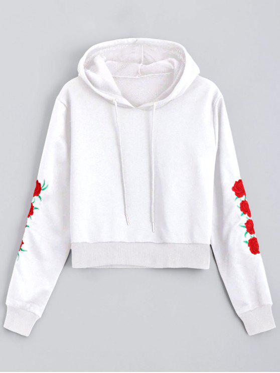 Floral Patched Drawstring Hoodie - Blanco S
