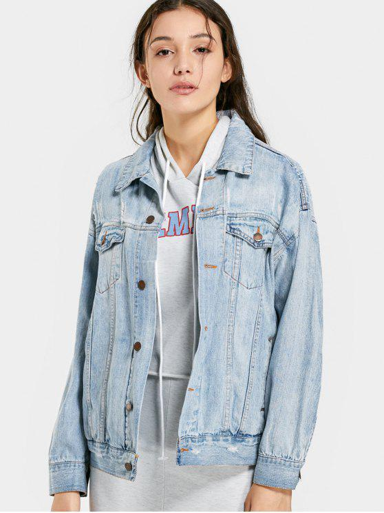 trendy Drop Shoulder Pockets Ripped Denim Jacket - LIGHT BLUE M