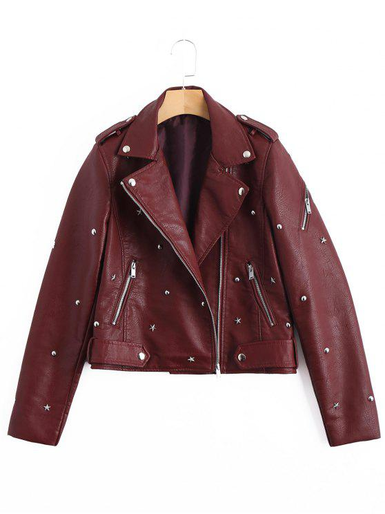 sale Asymmetric Zipper Rivet Embellished Faux Leather Jacket - WINE RED M