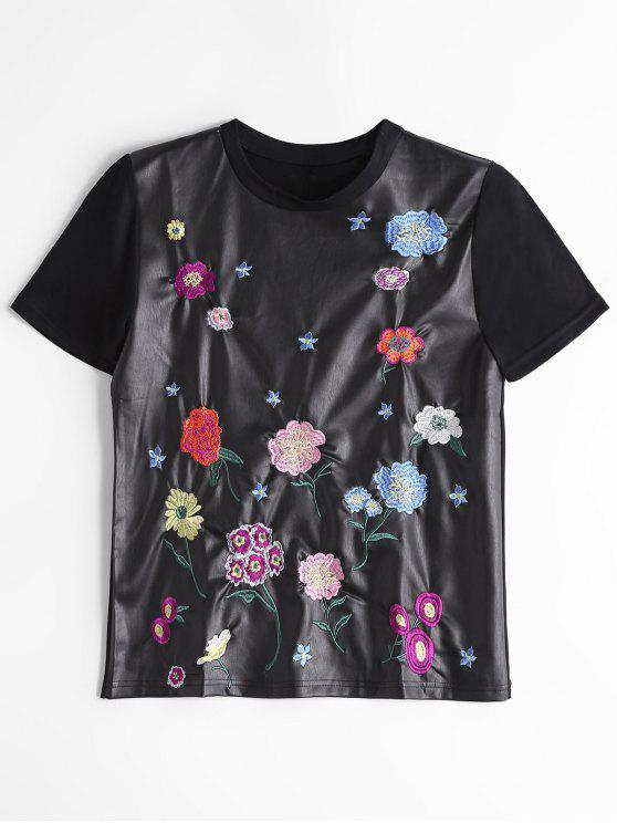 Faux Leather Floral Embroidered Top - Negro M