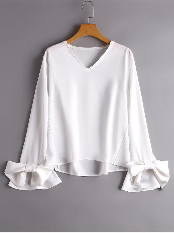 shop Flare Sleeve V Neck Bowknot Blouse - WHITE S