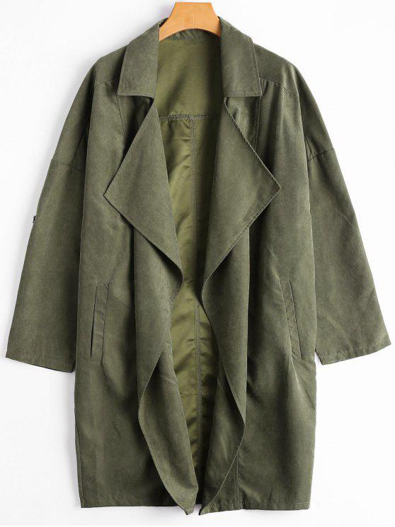 latest Drop Shoulder Lapel Trench Coat - ARMY GREEN M