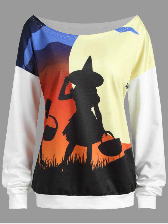 Sweat-shirt Grande Taille Halloween Sorcière et Lune Épaules Tombantes - Blanc 4XL