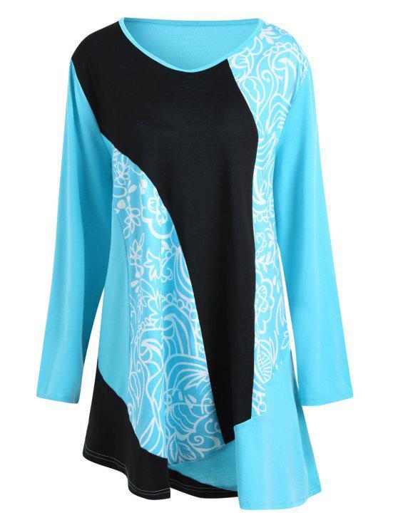 Robe T-shirt Grande Taille Imprimée Floral Color Block - Bleu XL