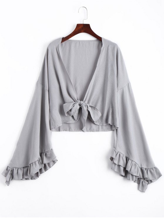affordable Frilled Front Knot Cover-up Top - GRAY L